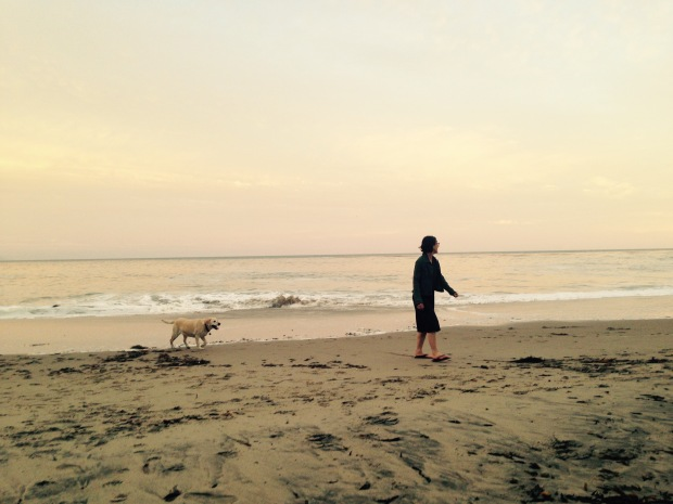 Charlie and me at the Santa Cruz dog beach sunset Photo by Melissa McMaster